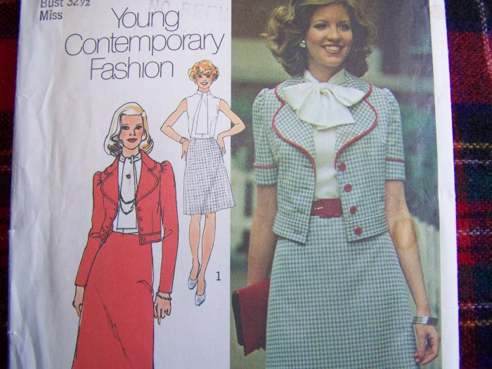Vintage 70's Suit Sewing Pattern Waist Jacket 2 Length Dress or Maxi Gown 6601