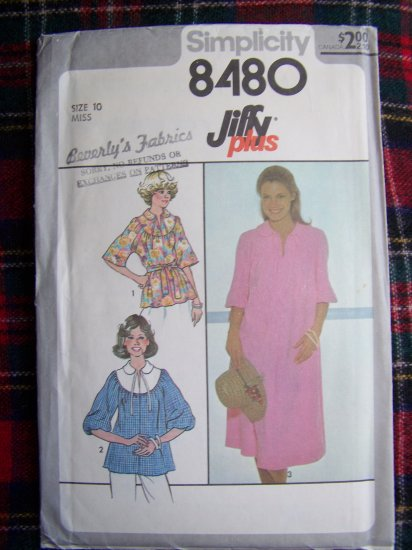 1 Cent USA S&H 70's Vintage Jiffy Pullover Smock Tent Dress Tunic Top Sewing Pattern 8480