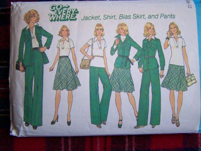 Vintage Misses Wardrobe Sewing Pattern 7070 Unlined Suit Jacket Shirt Bias SKirt Pants