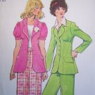 Vintage Hippie Suit Unlined Puff SLeeve Jacket Wide Leg Cuff Pants Sewing Pattern 5642