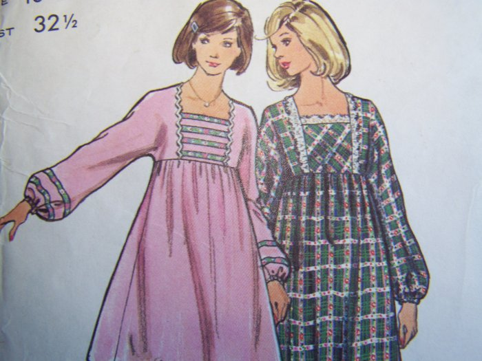Vintage 70's Empire Smock Tent Dress Mini Maxi Babydoll Puff Sleeves Sewing Pattern 3035