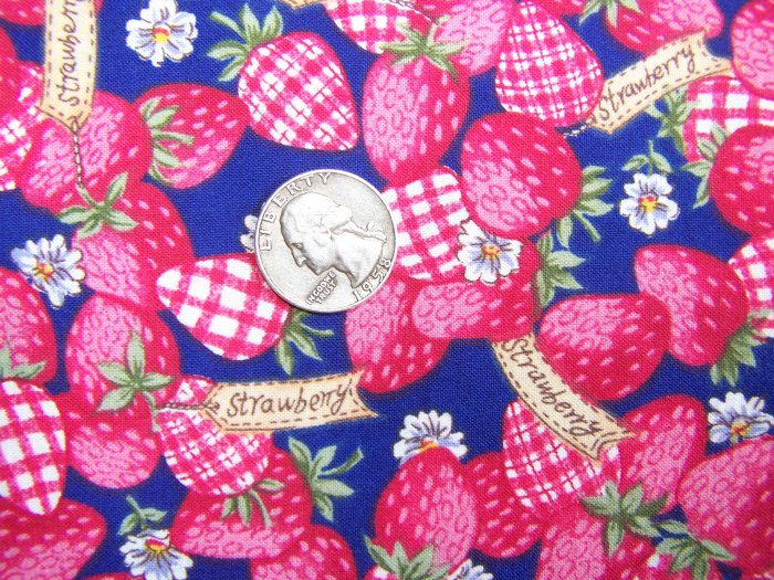 OOP Cotton Strawberry Classic Fabric on Blue With Check Strawberries BTY