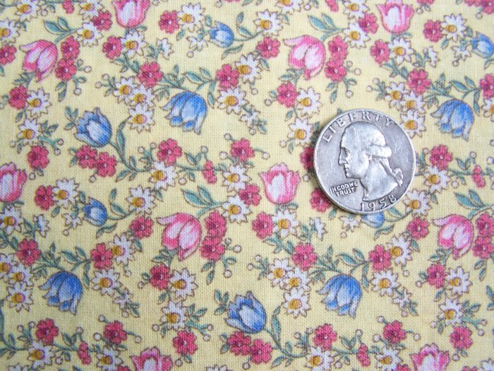 1980's Vintage Cotton Quilting Fabric Yellow Floral Mini Print 1 yard +