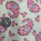 Cotton Quilting Fabric Pink Paisley Roses Floral Print Vintage 1980's QUilt Shop