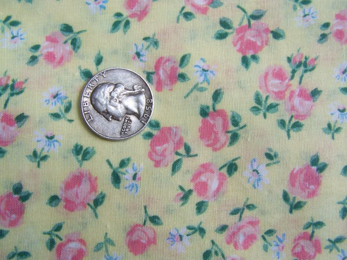 Cottage Pink Roses White Daisies On Yellow Cotton Quilting Fabric 1980's