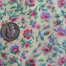 Vintage Cotton Quilt Fabric Light Yellow Pink Purple Flowers Quilting Material