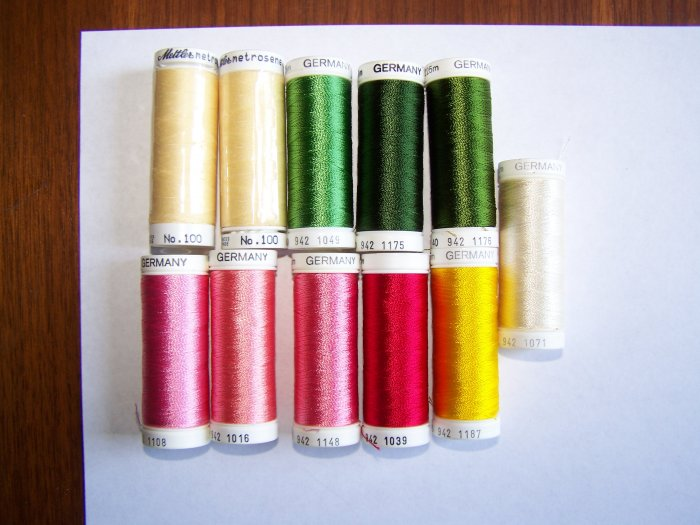 Lot of 11 Mettler and Sulky 40 Embroidery Sewing Thread 164 - 250 Yard Spools