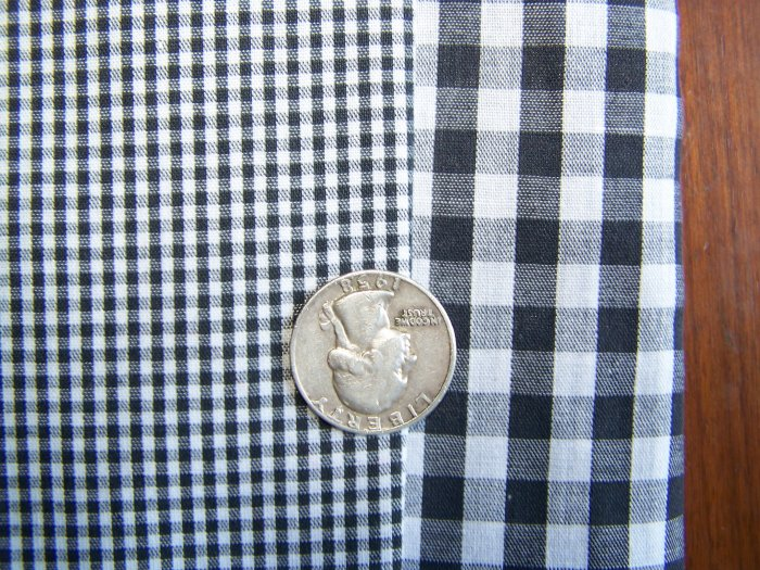 $1 USA S&H Lot of Black White Tiny and Big Check Checked Cotton Fabric