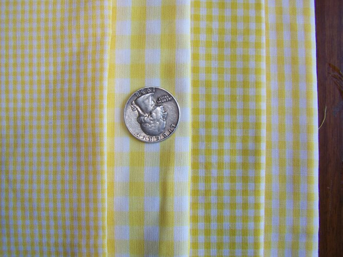 Lot of 4 Yellow White Gingham Checked Cotton Fabric Scraps Small and Big Check