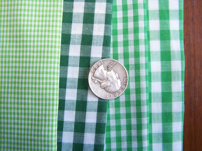 Green White Gingham Cotton Fabric Lot Tiny Big Small Checked Plaid