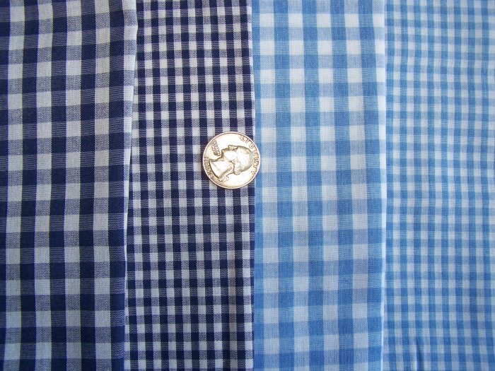 Navy Baby Blue White Check Gingham Cotton Fabric Scrap Remnents Lot