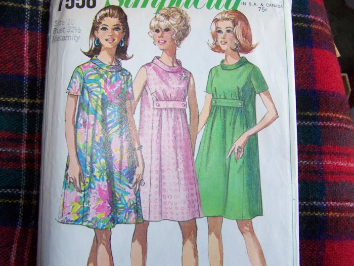 50's Vintage Maternity Dress Let Out Side Seams Sewing Pattern 7558