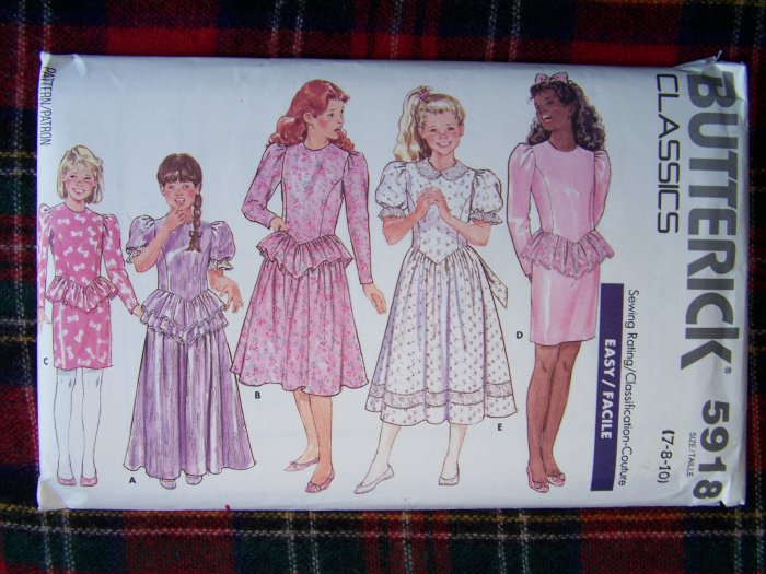 80's Vintage Girls Christmas Dress Shaped Bodice Waist Ruffles Sewing Pattern 7 8 10