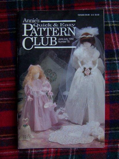 Annie's Pattern Club Book # 75 Patriotic Wedding Bridal Dolls Baby