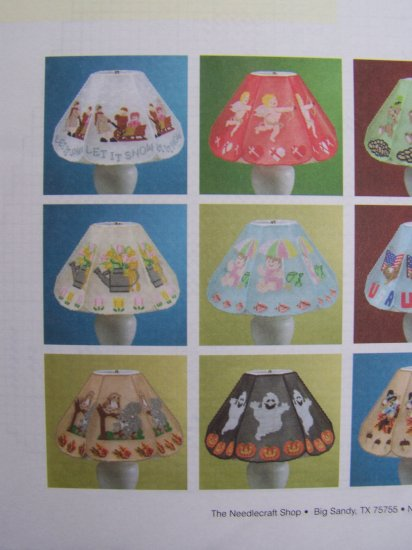 12 Plastic Canvas Lampshade Covers Pattern Book Holiday Halloween Christmas +