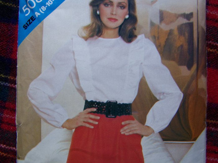 70's Vintage Sewing Pattern 5084 Ruffled Long Sleeve Blouse Culottes Gauchos 8 10 12