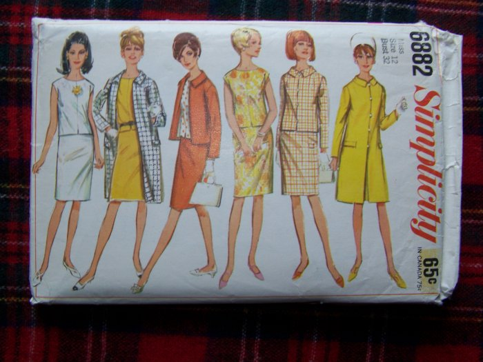 1960's Vintage Sewing Pattern 6882 Retro Coat Jacket Overblouse Slim Skirt Sz 12