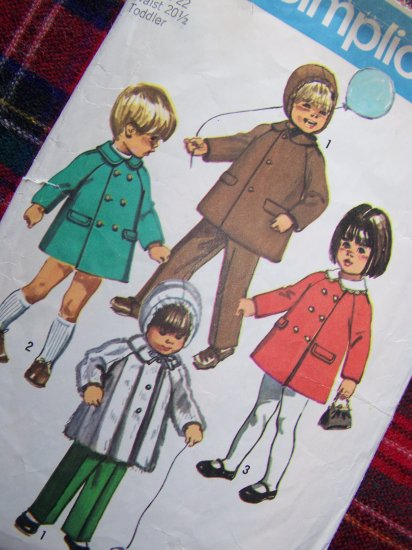 70's VIntage Sewing Pattern 9042 Girls Boys 3 Toddler Lined Coat Hood Pants