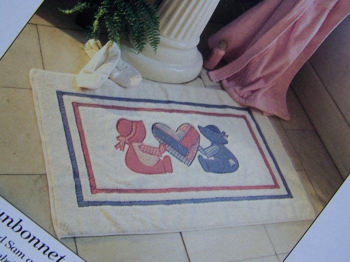 USA 75 Cent S&H  Sunbonnet Sue & Sam Appliques Pattern Bathroom Rug Towels