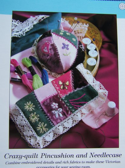 USA 50 Cent S&H Victorian Crazy Quilt Patterns Pincushion & Needlecase Embroidery