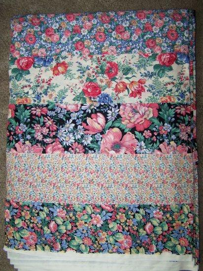Vintage Cotton Floral Stripe Sharon Kessler Concord Flowers Fabrics BTY