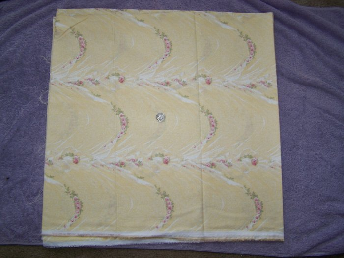 2 Yards + Daisy Kingdom Yellow Pink Rose Swag Voile Cotton Fabric 3596