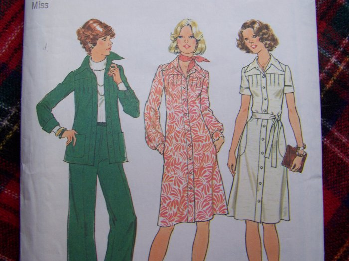 1970's Sewing Pattern 7178 Misses 10 Tuck Front Dress Jacket Top Pants