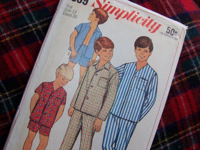 1960's Vintage Boys Sz 12 Sewing Pattern Pajamas Pants Shorts Shirt Long or Short Sleeves 7399