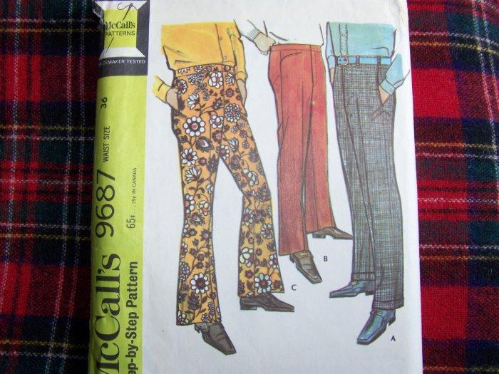 Mens Vintage Sewing Pattern 9687 Disco Hippie Dress Pants Slacks 36 Waist