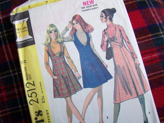 70's Vintage Sewing Pattern 2512 Wrap Deep V Jumper Dress & Blouse Sz 12