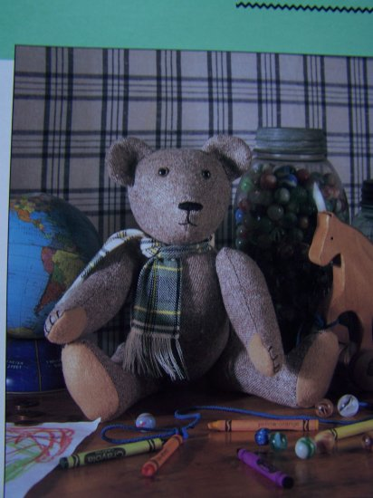 Tweed Fabric Sewing Pattern Stuffed Jointed Teddy Bear Doll