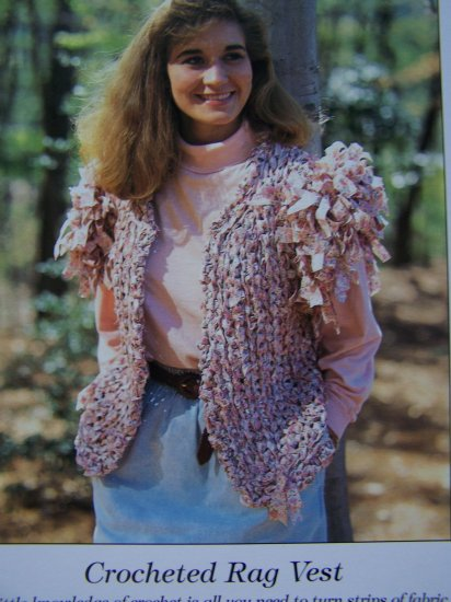Crochet Pattern Rag Rug Vest Misses Crocheting 6 8 10 12 14 16 USA 50 c S&H