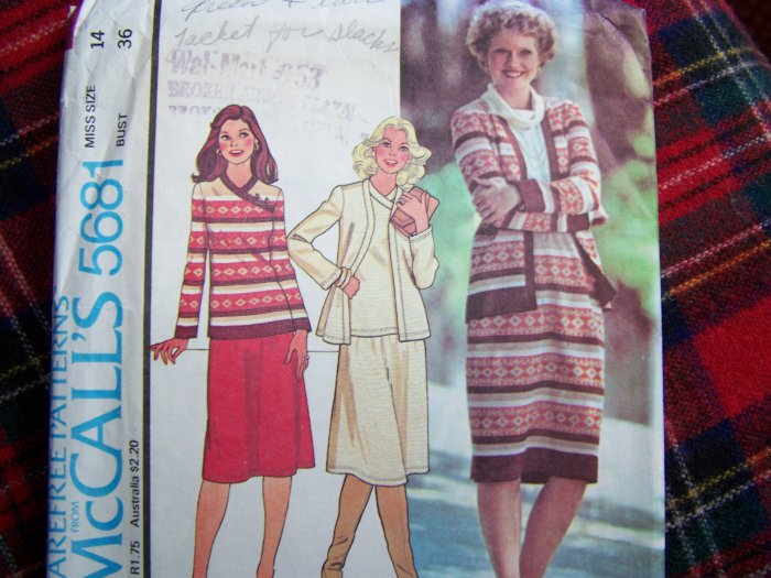 Misses 14 Knit Cardigan Sweater Top and Skirt Vintage 70's Sewing Pattern 5681
