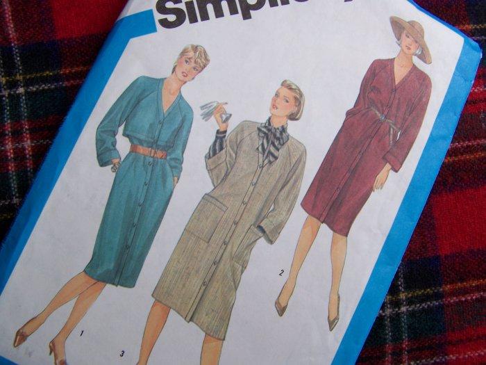 1 Cent USA S&H  1980's Vintage Coat Dress Sz 14 Trench Yokes Pockets  6539