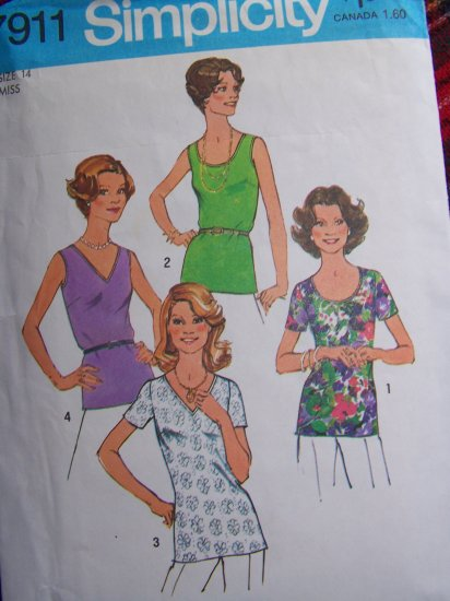 S&H 1 Cent USA  Vintage Sewing Pattern Misses Tops V Round Neck Back Zipper