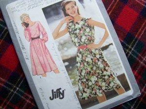 Vintage Sewing Pattern 9444 Long or Cap Sleeve Dress Sz 14