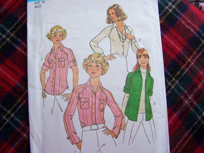 Vintage Sewing Patterns Misses Tab Shirts Blouse Tops Bust 36