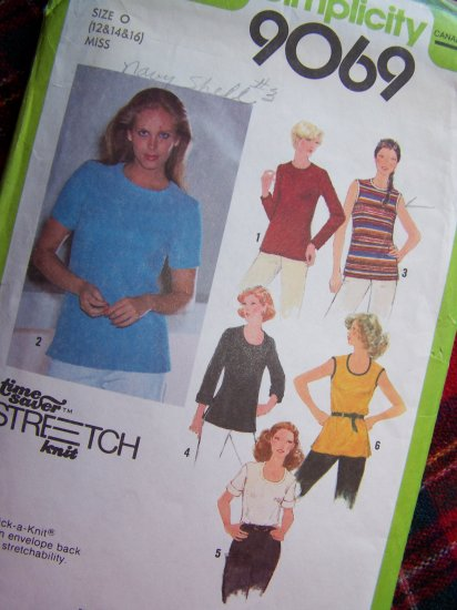 1970's Vintage Sewing Patterns 9069 Misses Pullover Tops Shirts Blouses Sz 12 14 16