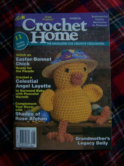 Crochet Home Pattern Book # 58 Afghans Doily Layette Doll Crocheting Patterns