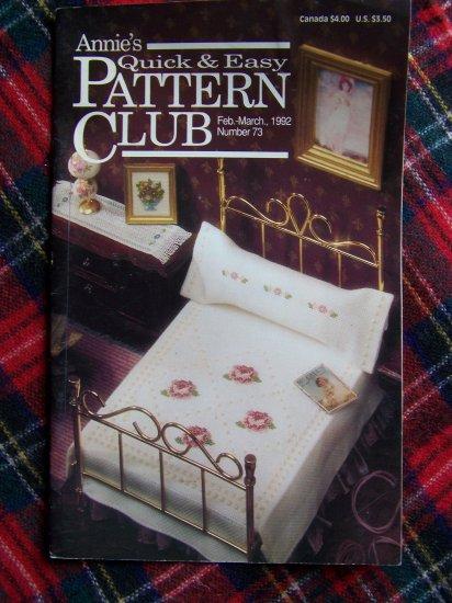 Annie's Quick & Easy Pattern Club Book # 73 Cross Stitch Crochet Plastic Patterns