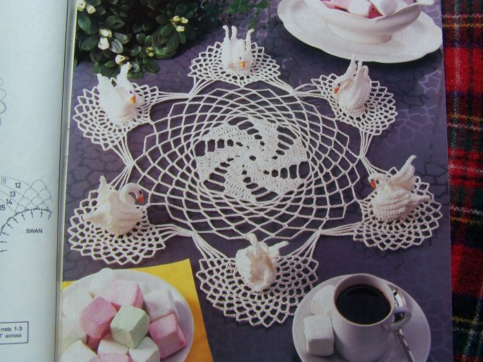 Feb 1992 Magic Crochet Pattern Magazine # 76 Filet Patchwork Tablecloths Swan DOily