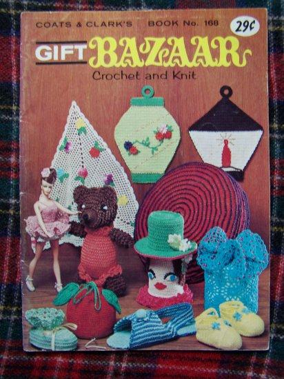 Vintage 60's Crochet & Knitting Patterns Book 168 Retro Hats SLippers Pillows Potholders +