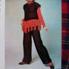 1960's Vintage Knitting & Crochet Patterns Misses Hippie Tank Dress Pants Poncho Set 232