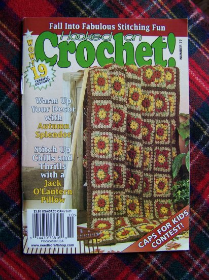 19 Crochet Thread Pattern Book # 77 Afghans Halloween Christmas Sept Oct 1999