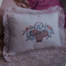 S&H USA 50 Cent  Victorian Floral Basket Pillow Cross Stitch Pattern