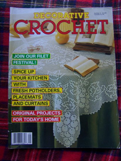 Vintage 1980's Crocheting Patterns Magazine Back Issue Decorative Crochet # 9