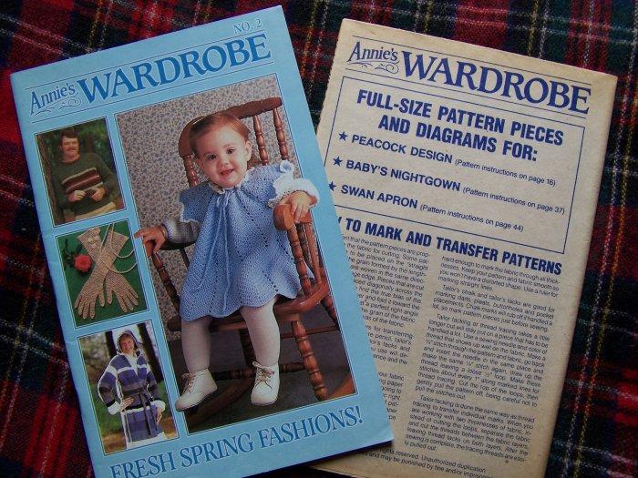 Vintage Annie's Wardrobe Pattern Book # 2 Crochet Knitting Sewing w Patterns