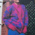 Lady's Vintage Knitting Pattern Bulky Button Up Jacket USA 1 Cent Shipping Special