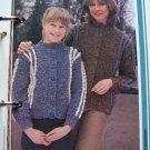 Mother Daughter Boucle Yarn Knitting Patterns BUtton Up Jackets 1 Cent USA Shipping