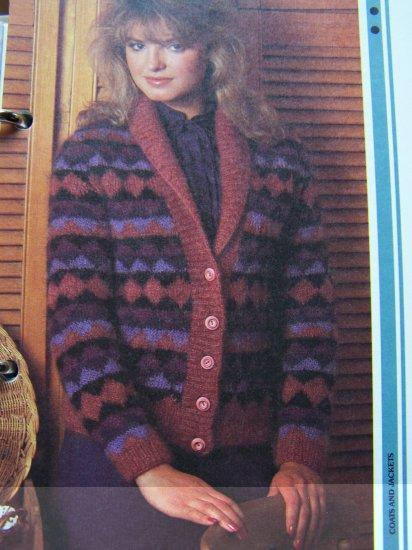 Vintage Knitting Pattern Womens Harlequin Sweater Coat Jacket USA 1 Cent Shipping